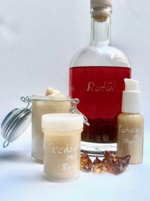 Pechsalbe mit Rotöl, ein Heilmittel aus der Natur